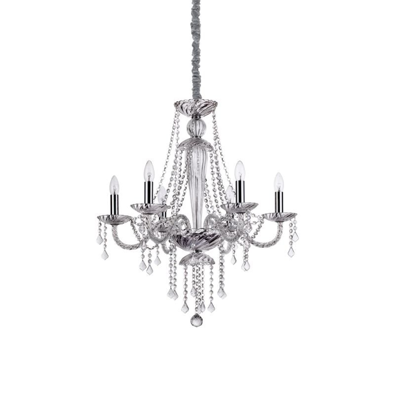 IdealLux-168753 - Amadeus - Transparent Glass with Crystal 6 Light Chandelier