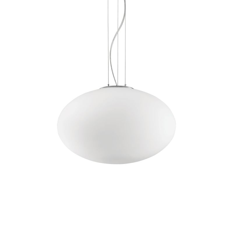 IdealLux-086736 - Candy - Oval White Glass Single Pendant ∅ 40
