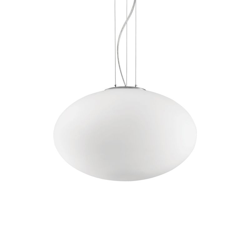 IdealLux-086743 - Candy - Oval White Glass Single Pendant ∅ 50