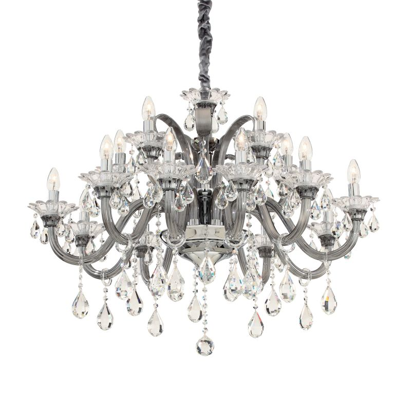IdealLux-081526 - Colossal - Grey and Clear Glass with Chrome 15 Light Chandelier