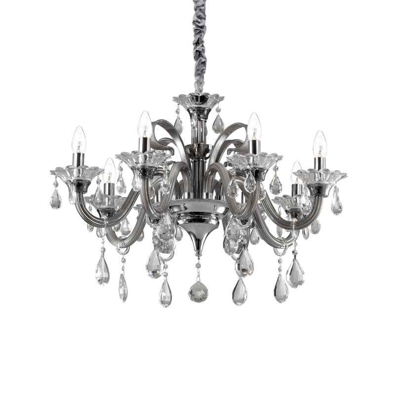 IdealLux-081519 - Colossal - Grey and Clear Glass with Chrome 8 Light Chandelier