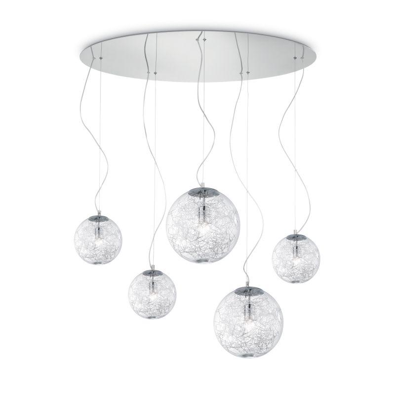 IdealLux-091112 - Mapa max - Clear Glass Globe with Aluminum Thread 5 Light Pendant