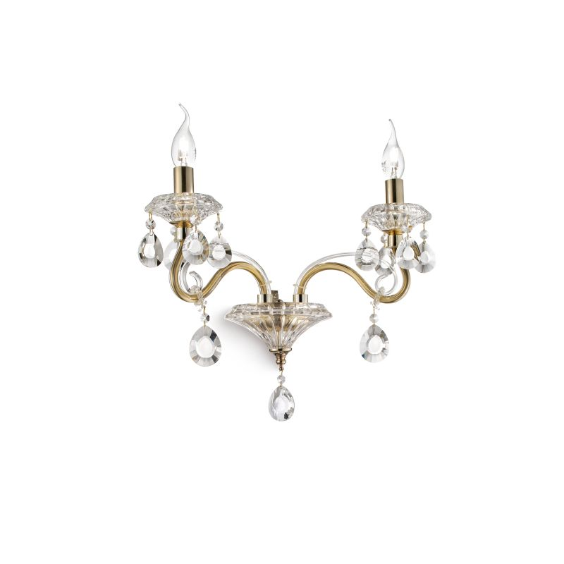 IdealLux-087757 - Negresco - Gold with Glass and Crystal 2 Light Wall Lamp