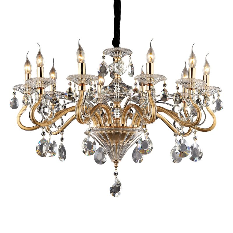 IdealLux-087771 - Negresco - Gold with Glass and Crystal 10 Light Chandelier