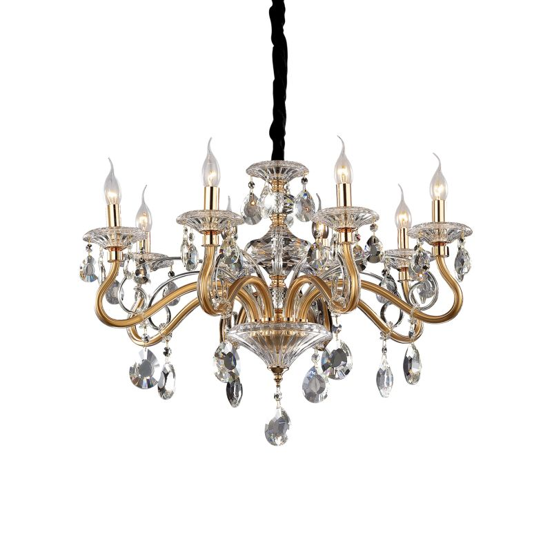 IdealLux-087764 - Negresco - Gold with Glass and Crystal 8 Light Chandelier