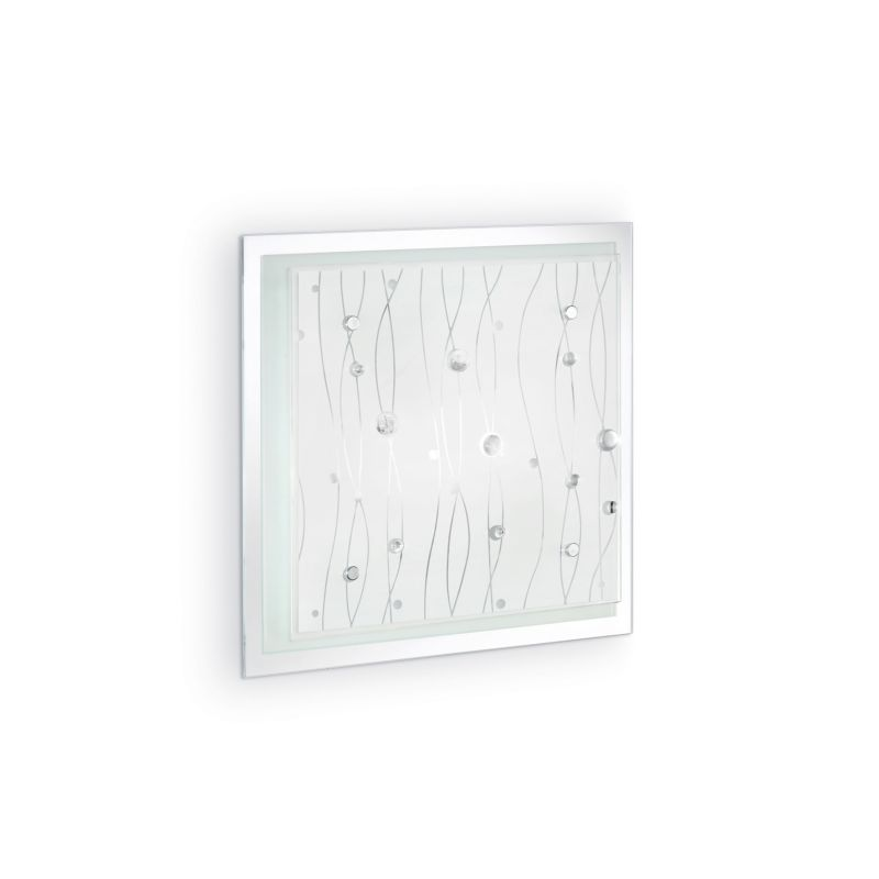 IdealLux-081434 - Ocean - Glass with Mirror 2 Light Ceiling Lamp