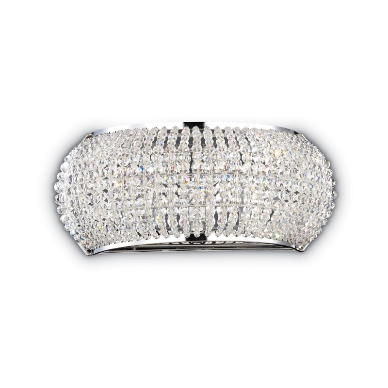 IdealLux-082264 - Pasha - Crystal with Chrome 3 Light Wall Lamp