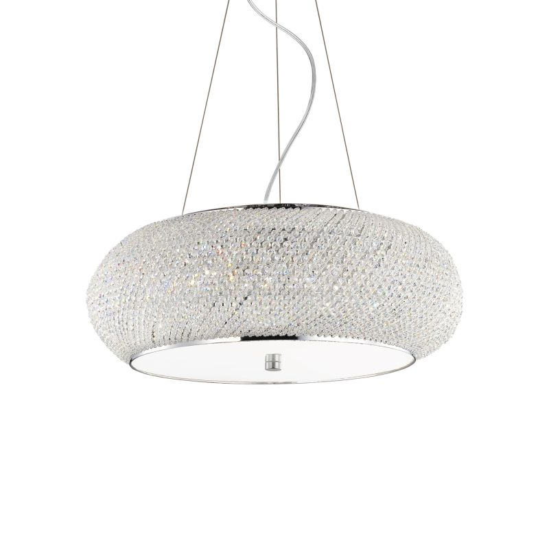 IdealLux-082196 - Pasha - Crystal with Chrome 10 Light Hanging Pendant