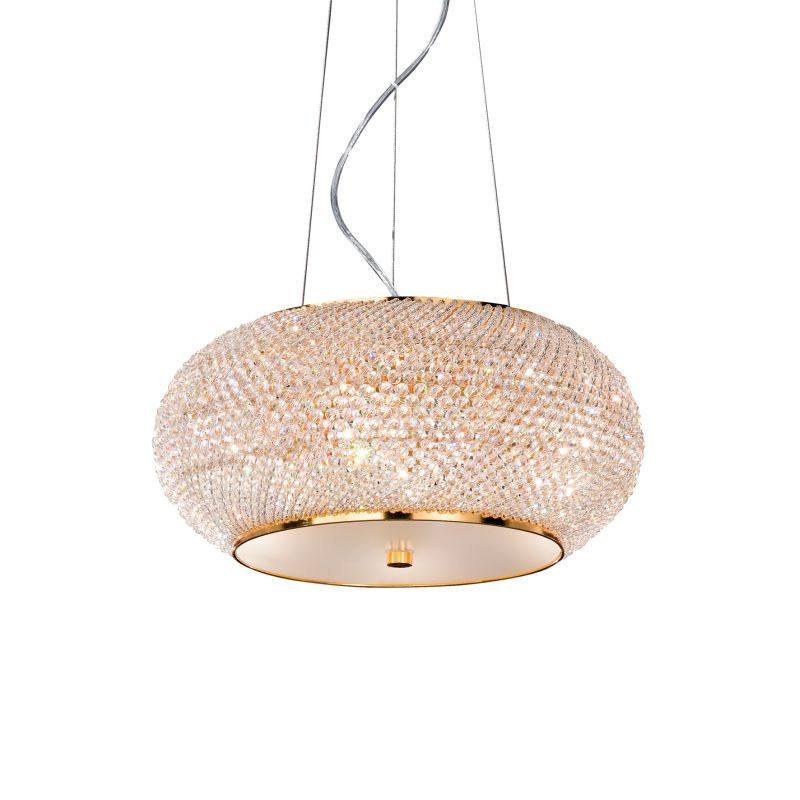 IdealLux-082172 - Pasha - Crystal with Gold 6 Light Hanging Pendant