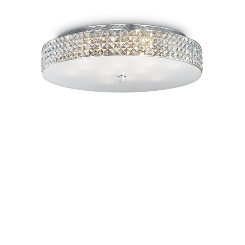 IdealLux-087870 - Roma - Crystal with Glass Diffuser 12 Light Ceiling lamp