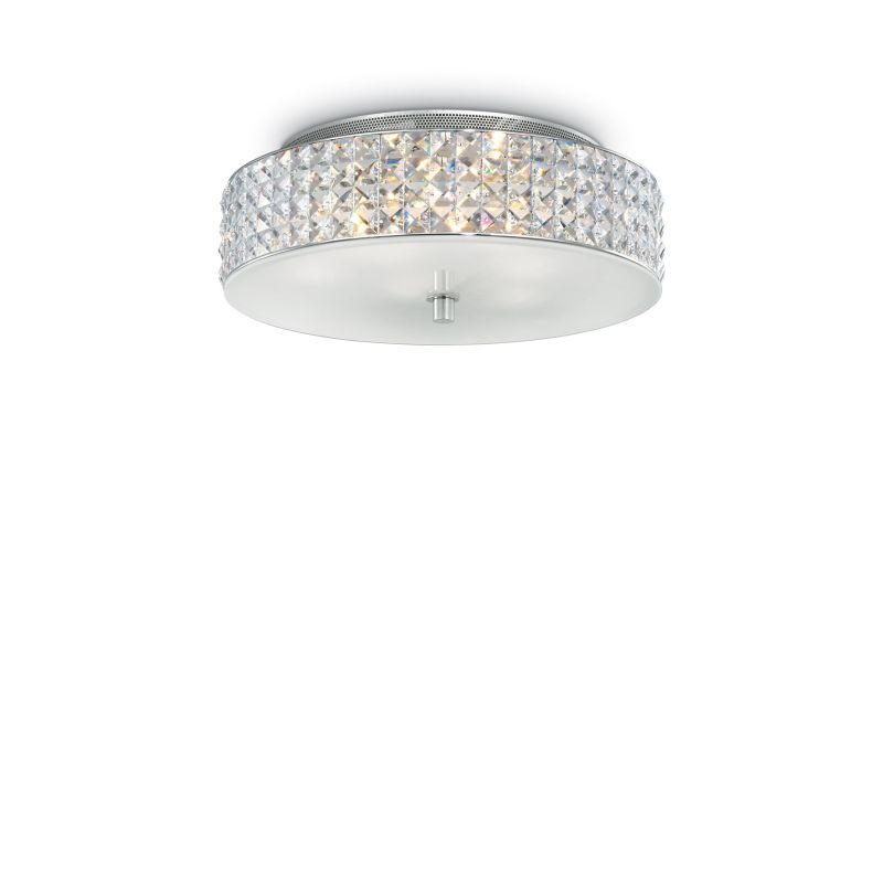 IdealLux-000657 - Roma - Crystal with Glass Diffuser 6 Light Ceiling lamp