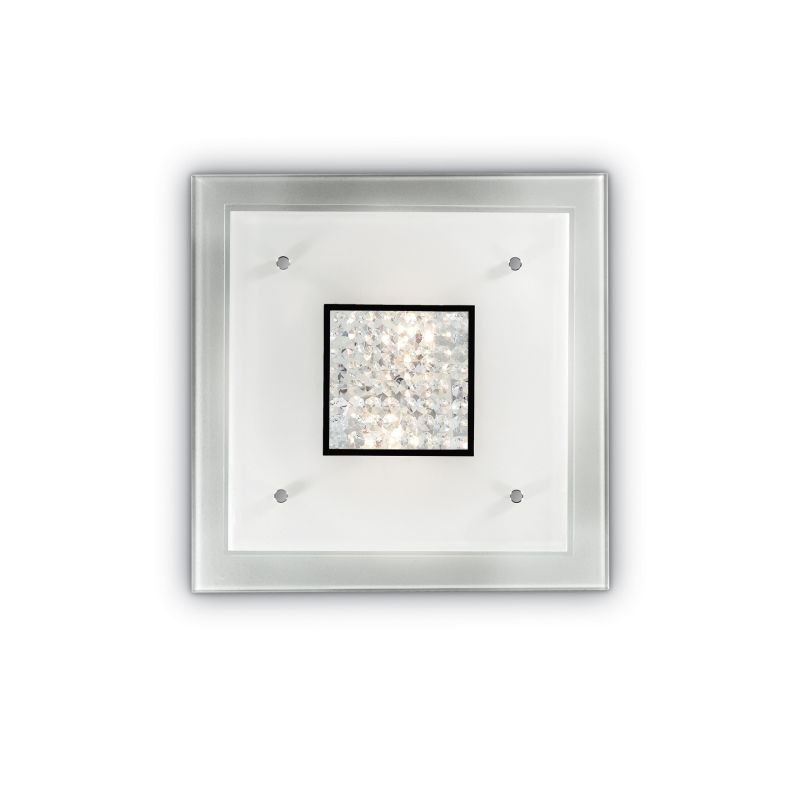 IdealLux-087573 - Steno - Square Glass with Crystal 2 Light Ceiling Lamp