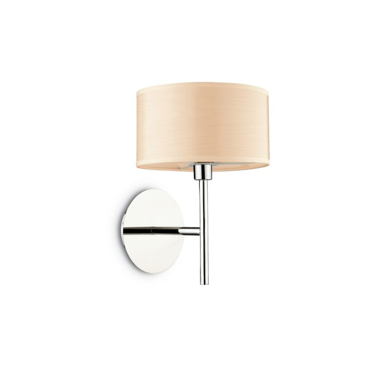 IdealLux-087665 - Woody - Beige Fabric with Frosted Glass Wall Lamp