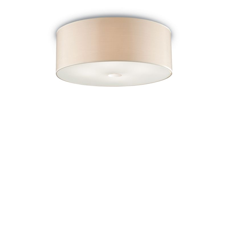 IdealLux-090900 - Woody - Beige Fabric with Frosted Glass 4 Light Flush