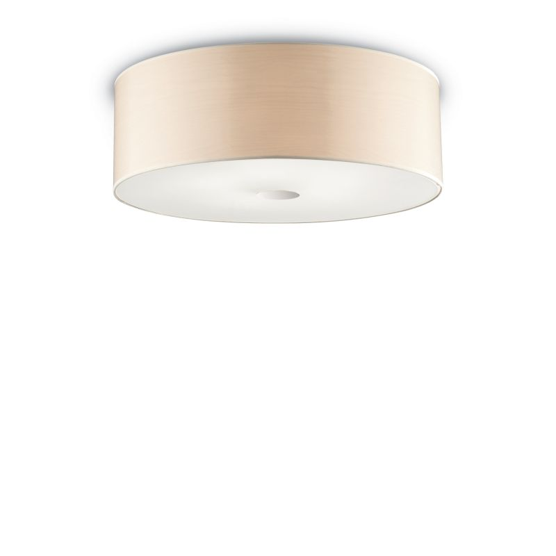 IdealLux-090863 - Woody - Beige Fabric with Frosted Glass 5 Light Flush