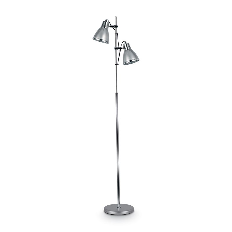 IdealLux-042794 - Elvis - Silver with Chrome 2 Light Floor Lamp