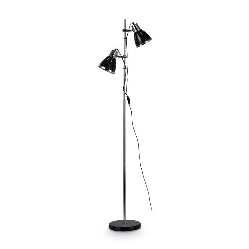 IdealLux-001197 - Elvis - Black with Chrome 2 Light Floor Lamp