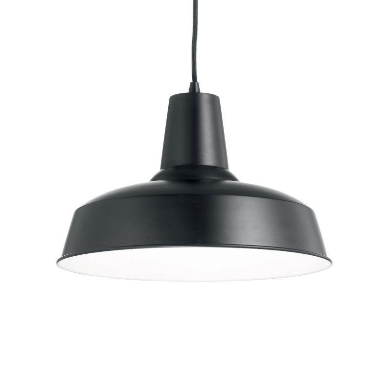 IdealLux-093659 - Moby - Black Metal Single Hanging Pendant