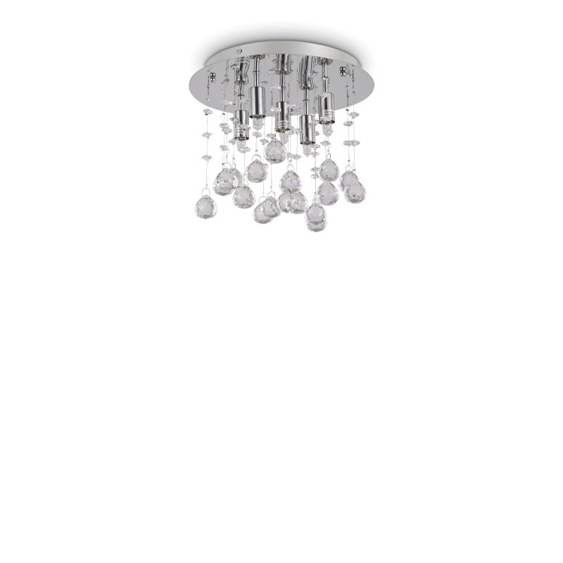 IdealLux-094649 - Moonlight - Crystal with Chrome 5 Light Round Ceiling Lamp
