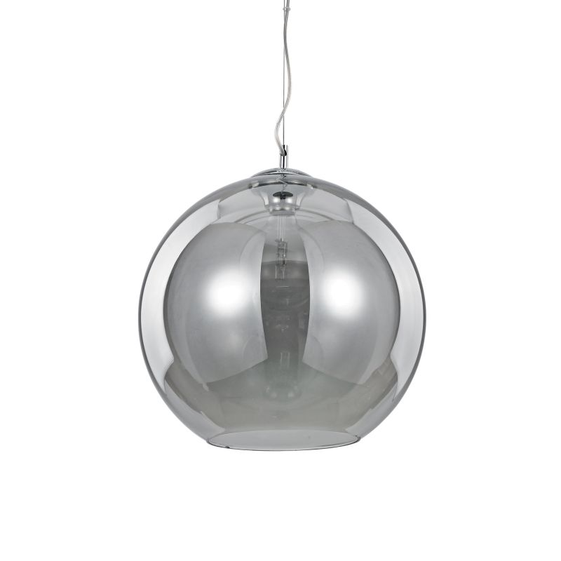 IdealLux-094229 - Nemo - Smoky Glass Globe with Chrome Single Pendant -Ø40