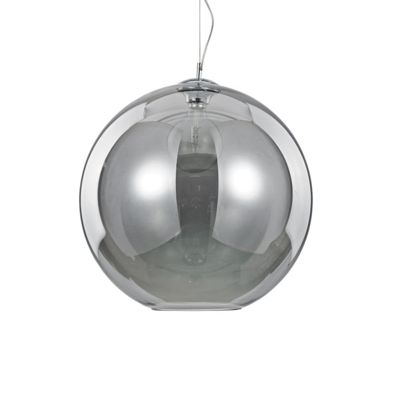 IdealLux-094137 - Nemo - Smoky Glass Globe with Chrome Single Pendant -Ø50