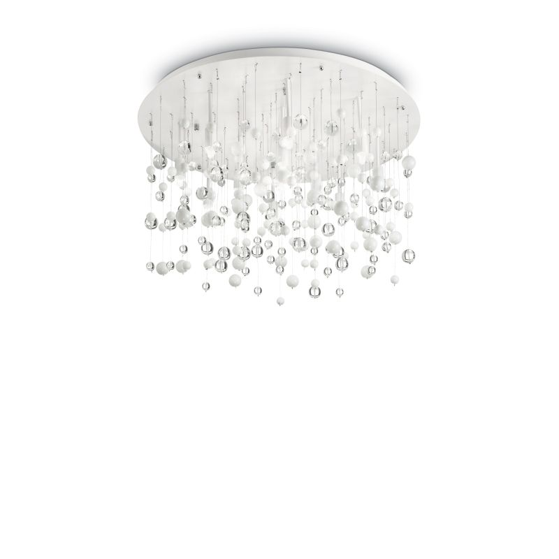 IdealLux-101187 - Neve - Crystal with White 12 Light Ceiling Lamp