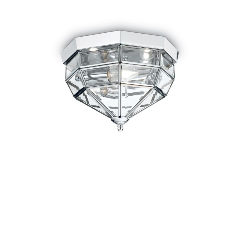 IdealLux-094793 - Norma - Chrome 3 Light Lantern Ceiling Lamp