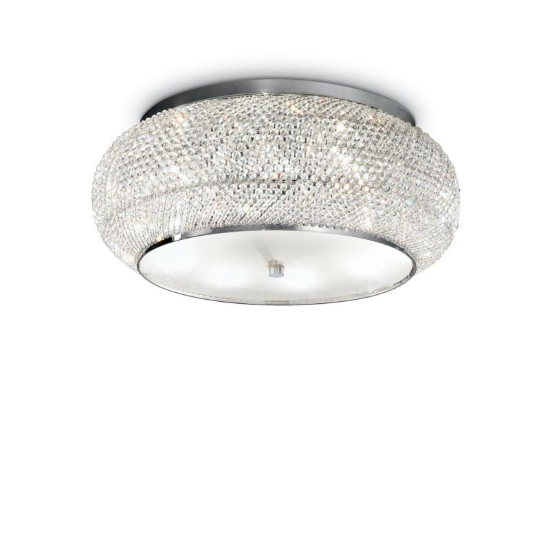 IdealLux-100746 - Pasha - Crystal with Chrome 10 Light Ceiling Lamp