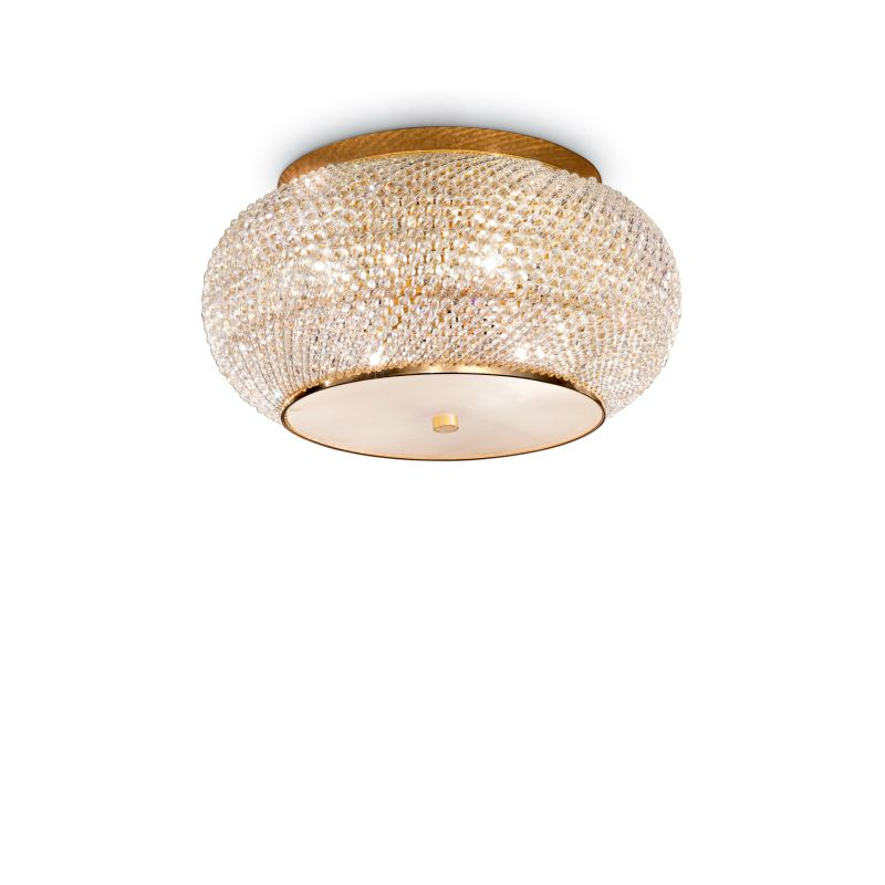 IdealLux-100807 - Pasha - Crystal with Gold 6 Light Ceiling Lamp