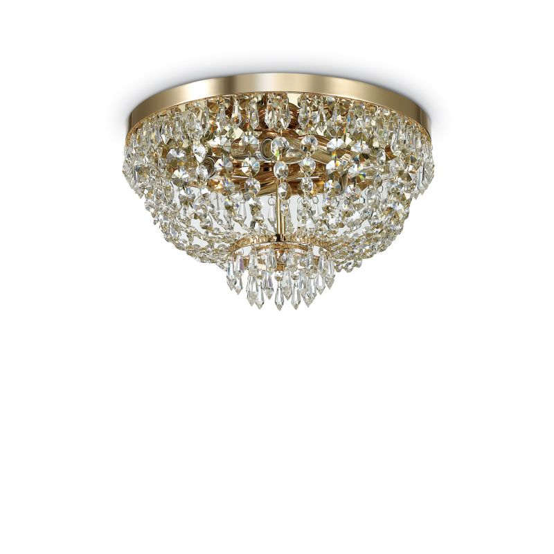 IdealLux-114675 - Caesar - Crystal with Gold 5 Light Ceiling Lamp