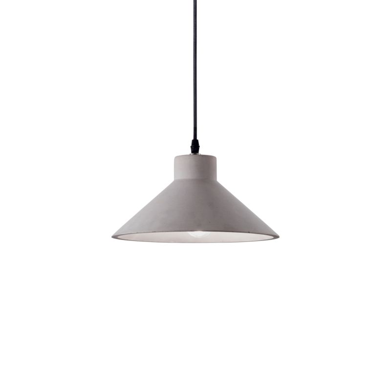 IdealLux-129099 - Oil - Grey Concrete Single Hanging Pendant
