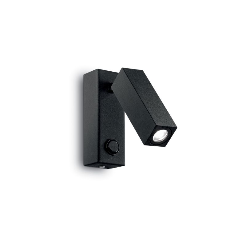 IdealLux-142241 - Page - Black Square LED Bed Side Wall Lamp