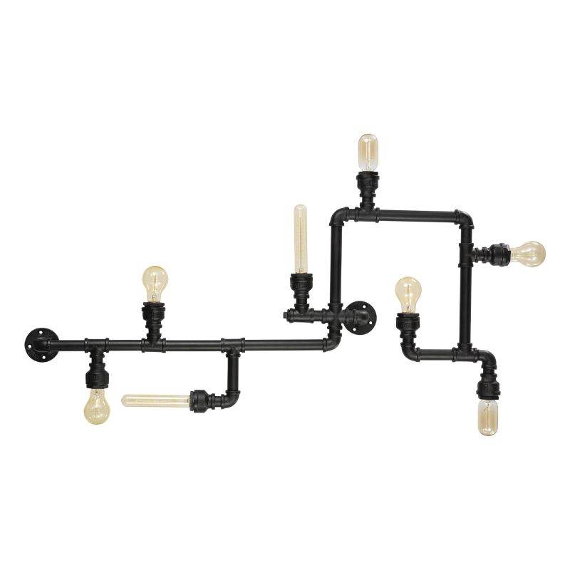 IdealLux-136714 - Plumber - Black Metal Hydraulic 8 Light Ceiling/Wall Lamp