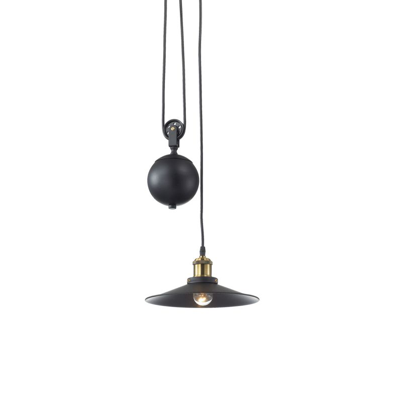 IdealLux-136332 - Up and down - Black Metal Single Rise & Fall Hanging Pendant