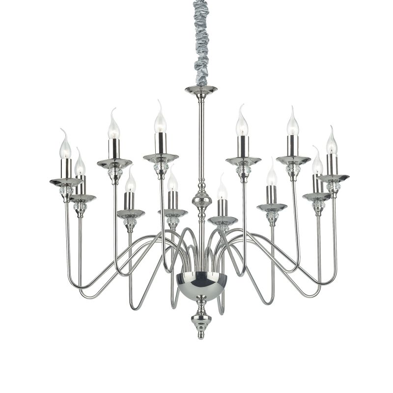 IdealLux-073132 - Artu - Polish Nickel with Crystal 12 Light Central Fitting