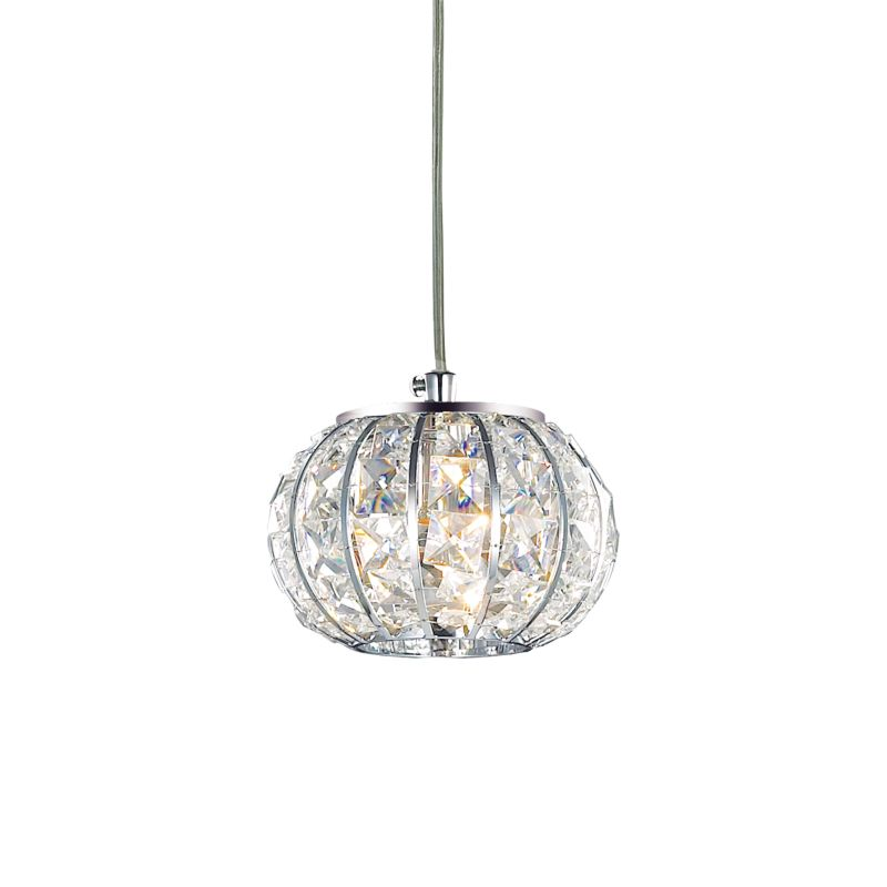 IdealLux-044187 - Calypso - Crystal with Chrome Single Round Hanging Pendant