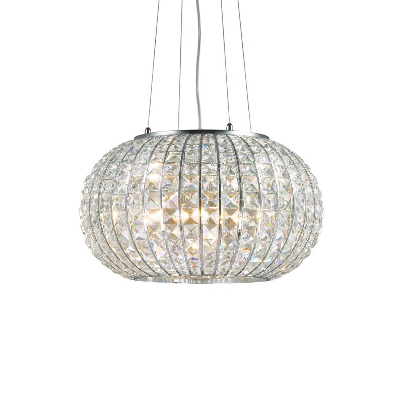 IdealLux-044200 - Calypso - Crystal with Chrome 5 Light Round Hanging Pendant