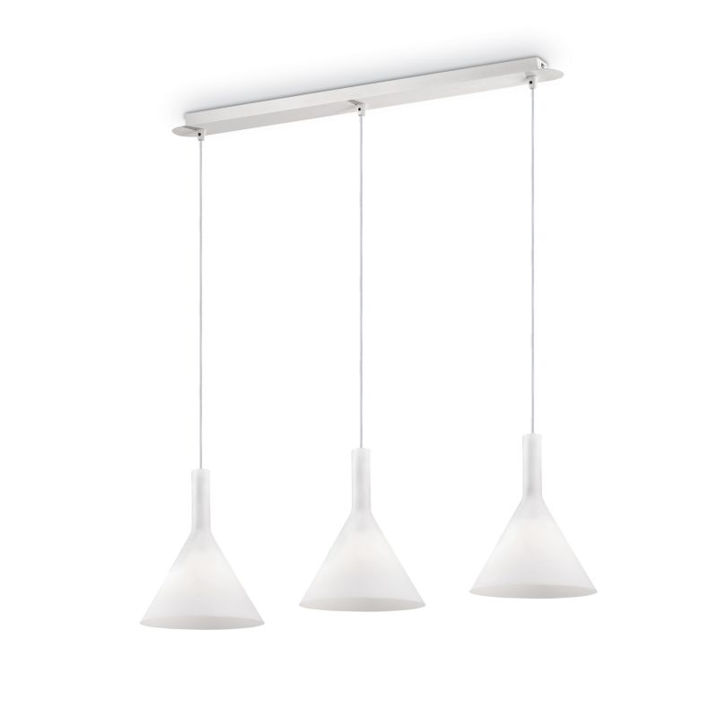 IdealLux-074245 - Cocktail - White Glass 3 Light over Island Fitting