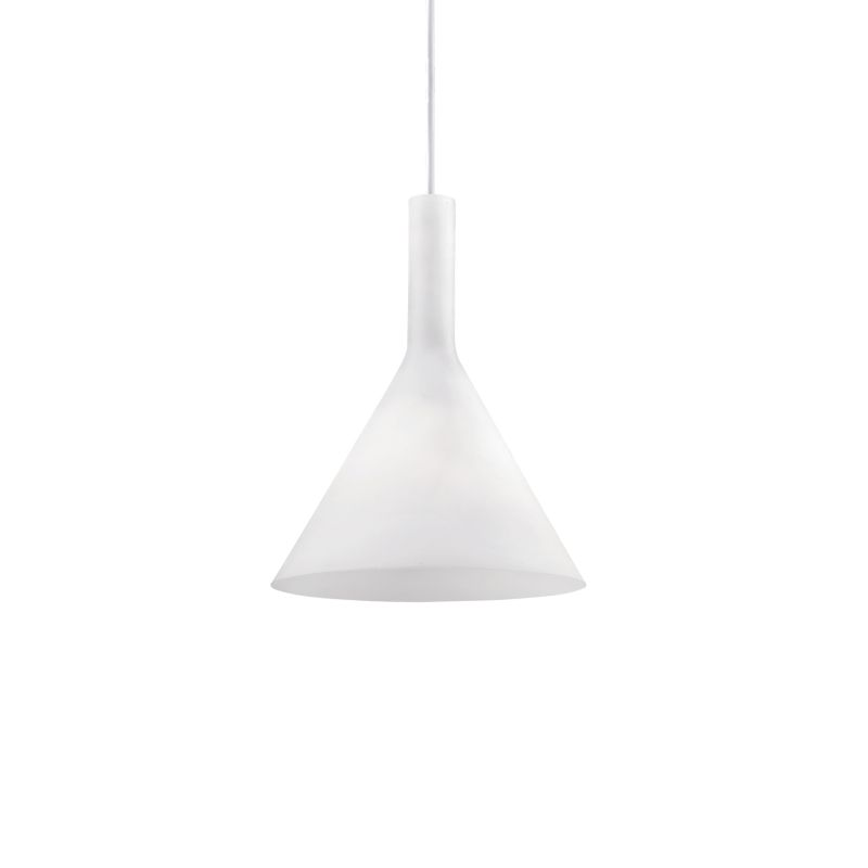 IdealLux-074337 - Cocktail - Small White Glass Single Hanging Pendant