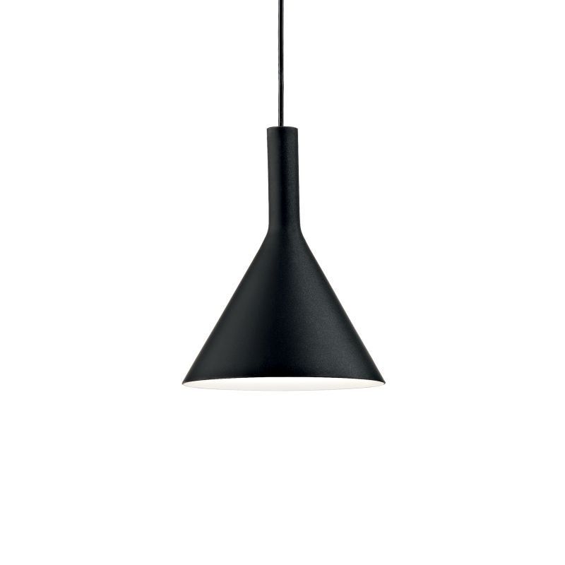 IdealLux-074344 - Cocktail - Small Black Glass Single Hanging Pendant