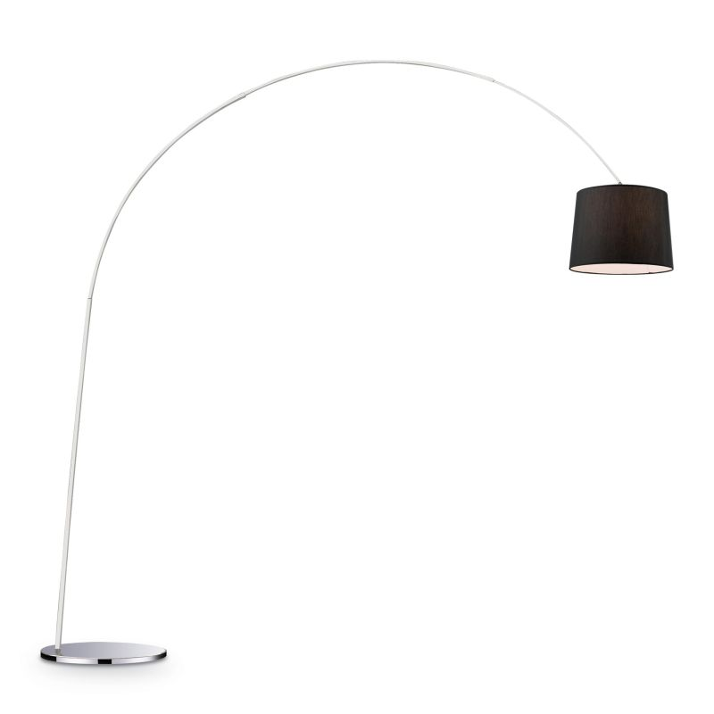 IdealLux-014371 - Dorsale - Black Fabric and Chrome Floor Lamp