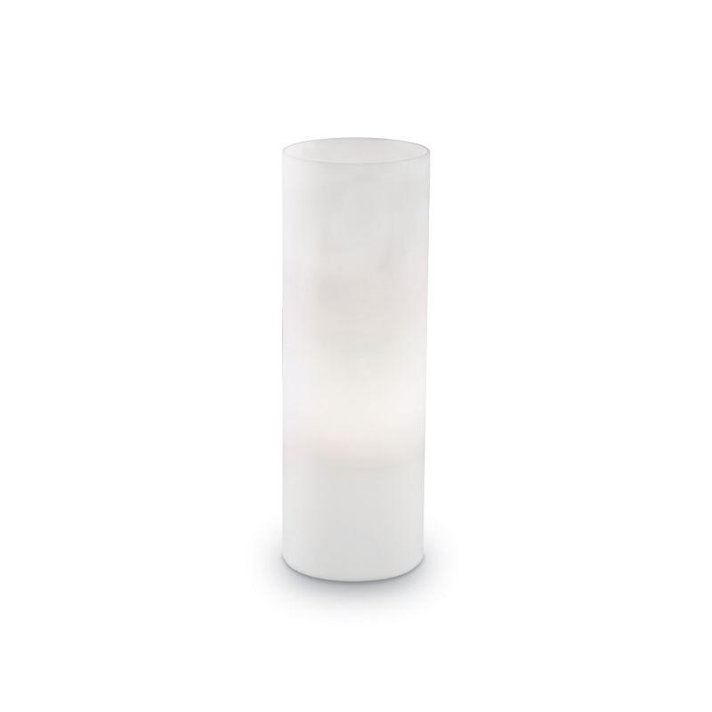 IdealLux-044590 - Edo - Big Tube White Glass with Chrome Table Lamp