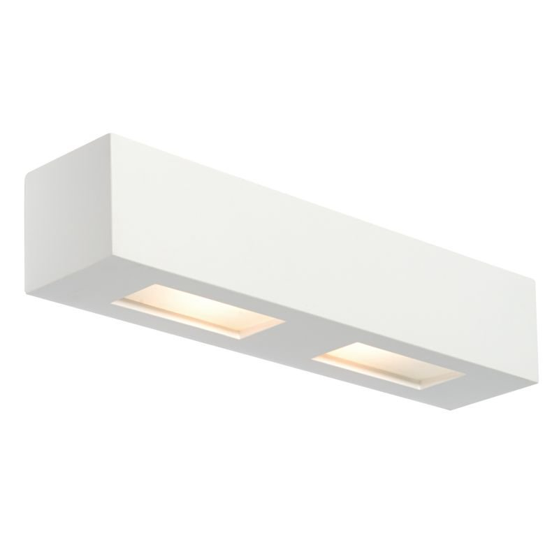 Saxby-10400 - Box - White Plaster with Glass Up&Down Wall Lamp