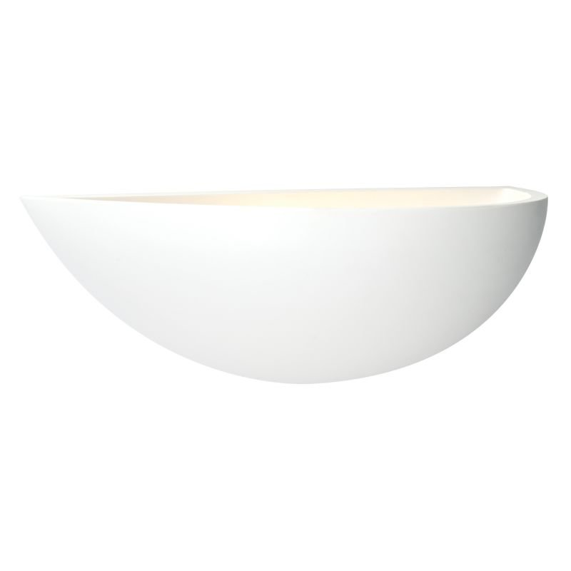Saxby-10401 - Crescent - White Plaster Uplighter Wall Lamp