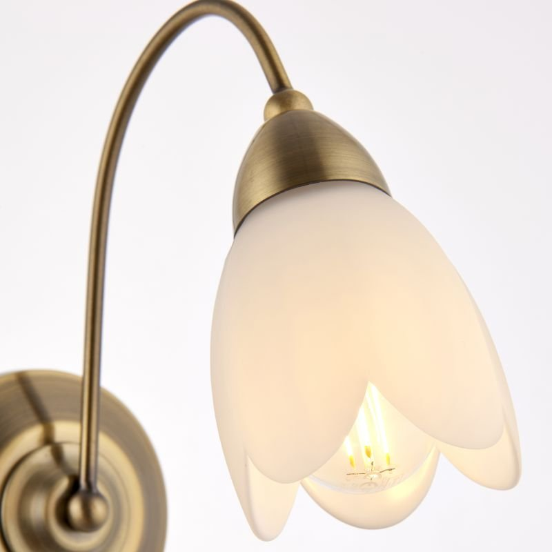 Endon-124-1WBAB - Petal - Antique Brass & Matt Opal Glass Single Wall Lamp