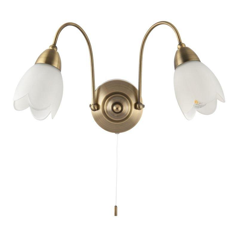Endon-124-2WBAB - Petal - Antique Brass & Matt Opal Glass Twin Wall Lamp