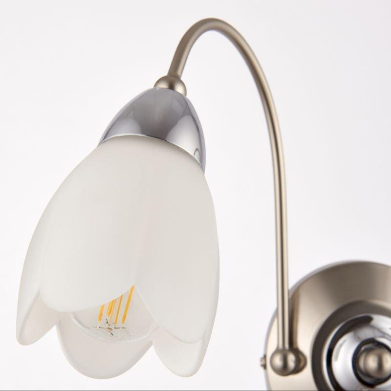 Endon-124-2 - Petal - Satin Chrome & Matt Opal Glass Twin Wall Lamp