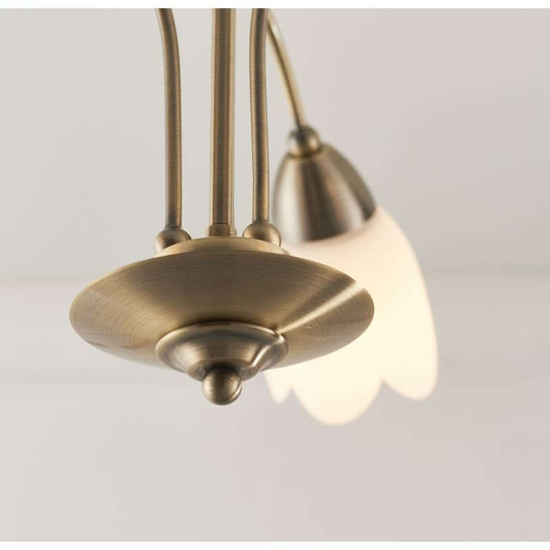 Endon-124-3AB - Petal - Antique Brass & Opal Glass 3 Light Centre Fitting