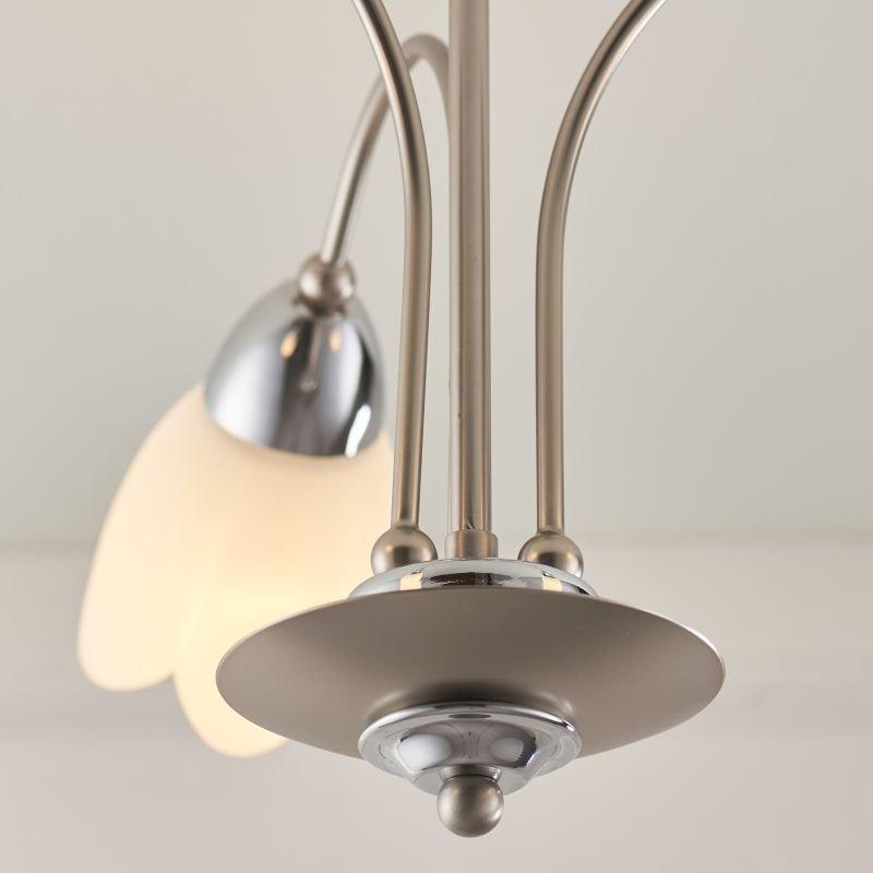Endon-124-3 - Petal - Satin Chrome & Opal Glass 3 Light Centre Fitting