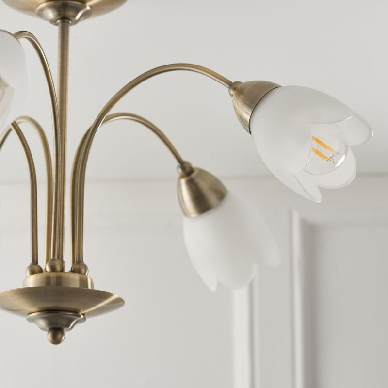 Endon-124-5AB - Petal - Antique Brass & Opal Glass 5 Light Centre Fitting